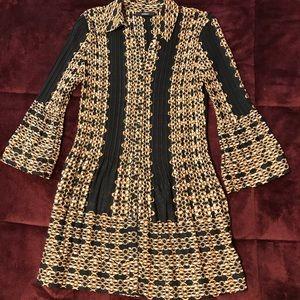 Alfani chain pattern, black, brown and white tunic